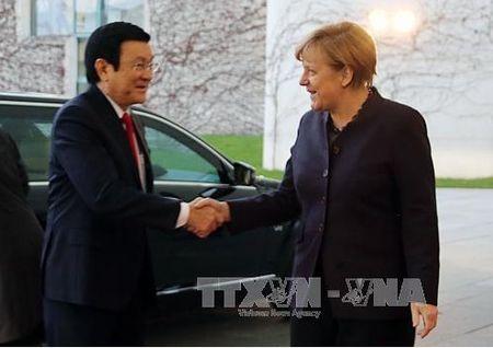 Chu tich nuoc hoi dam voi Thu tuong Duc Angela Merkel - Anh 1