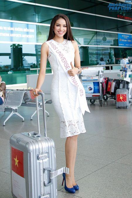 Pham Huong xinh dep rang ro len duong di thi Hoa hau Hoan vu 2015 - Anh 3