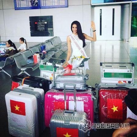 Pham Huong xinh dep len duong di thi Hoa hau Hoan vu 2015 - Anh 2