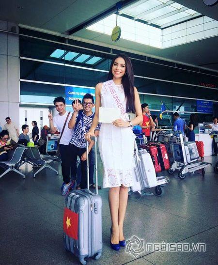 Pham Huong xinh dep len duong di thi Hoa hau Hoan vu 2015 - Anh 4