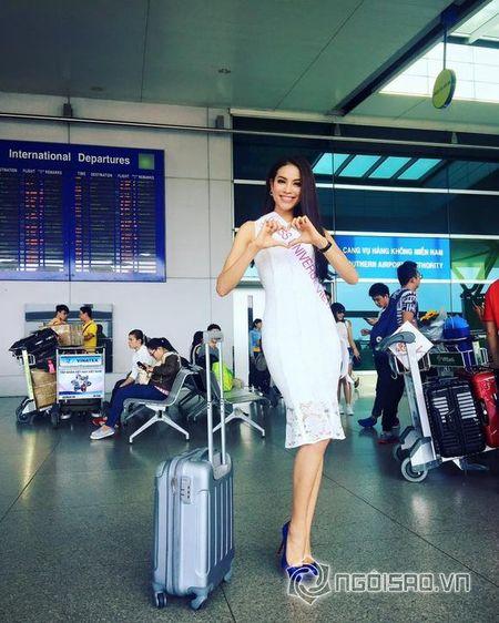 Pham Huong xinh dep len duong di thi Hoa hau Hoan vu 2015 - Anh 5