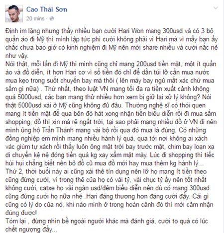 Cao Thai Son benh vuc Hari Won mang 300 USD di My - Anh 2