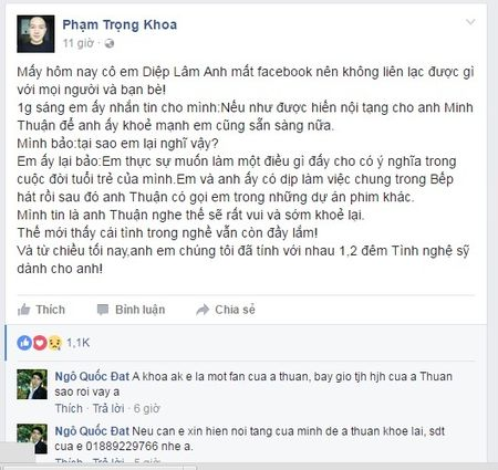 Nguoi mau Diep Lam Anh san sang hien noi tang de cuu Minh Thuan - Anh 1