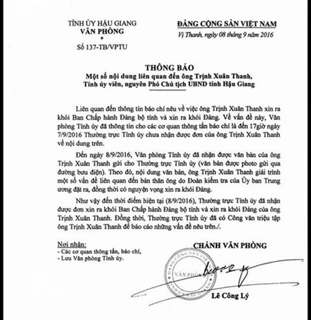 Hau Giang nhan duoc don cua ong Trinh Xuan Thanh xin ra khoi Dang - Anh 1