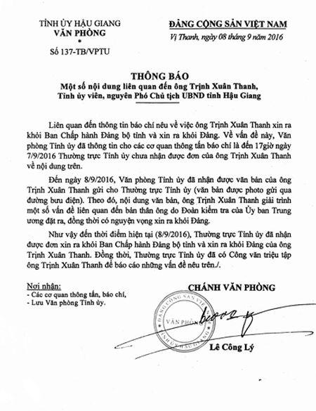 Hau Giang trieu tap ong Trinh Xuan Thanh ve viec xin ra Dang - Anh 2