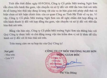 Cong ty Moi truong Nghi Son huy hop dong xu ly chat thai Formosa - Anh 2