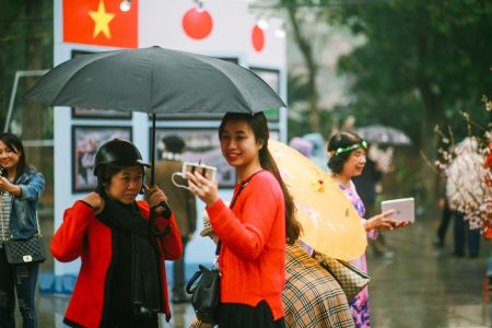 Nguoi dan doi mua di xem Le hoi hoa anh dao Nhat Ban - Anh 7