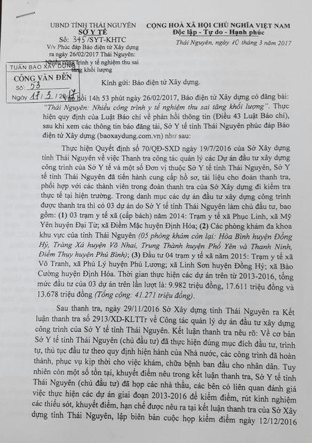 So Y te tinh Thai Nguyen phuc dap lai thong tin Bao dien tu Xay dung phan anh - Anh 1