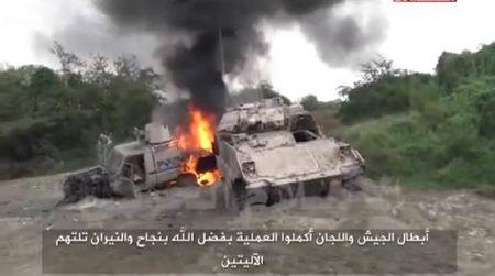2 xe boc thep no tung, 10 binh si Saudi Arabia thiet mang - Anh 1
