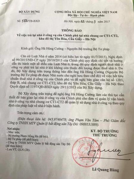 Hom nay, nguyen Bo truong Ha Hung Cuong hua tra nha cong vu - Anh 2