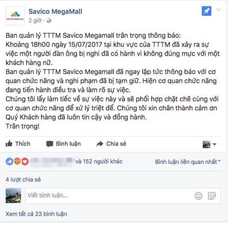 Ha Noi: Nghi van thong tin mot nguoi dan ong co hanh vi xam hai be gai 15 tuoi tai Savico MegaMall - Anh 2