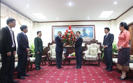 Lanh dao Viet Nam gui lang hoa, dien mung toi Lanh dao cap cao Lao - Anh 1