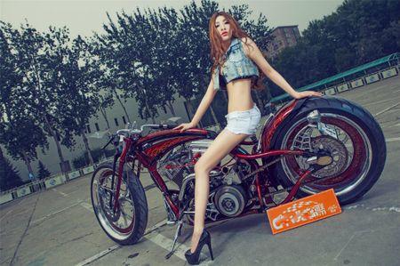 Me met chan dai ben xe khung Harley Davidson - Anh 8