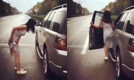 Chang trai dang ngoi trong xe, thay co gai xinh dep cu ngo vao va cai ket - Anh 1
