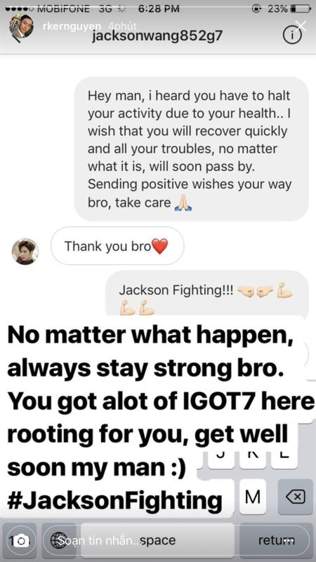 Jackson (GOT7) tam dung hoat dong vi suc khoe yeu, Rocker Nguyen 'voi' inbox tham hoi - Anh 3