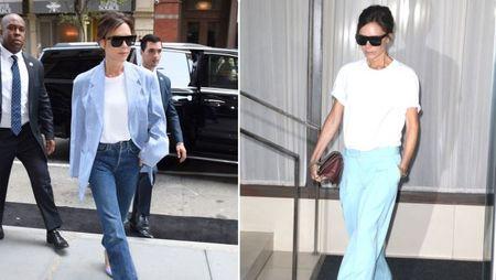 Street style ao phong trang cua Victoria Beckham suot Tuan le thoi trang New York 2017 - Anh 1