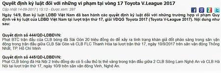 Lich thi dau - bang xep hang vong 18 V-League 2017 - Anh 3