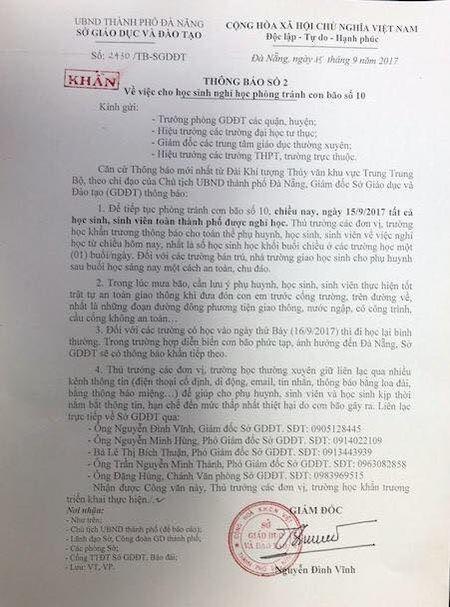 Tranh bao so 10, hoc sinh, sinh vien Da Nang nghi hoc tu chieu 15/9 - Anh 1