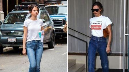 Selena Gomez 'bat chuoc' street style ao phong trang cua Victoria Beckham - Anh 1