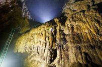 Lắp thang vượt Bức tường Việt Nam trong hang Sơn Đoòng