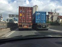 Truy xét, xử lý nghiêm 2 xe container dàn hàng ngang trên đường vành đai 3