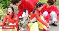 Vương Lệ Khôn ngã 'méo mặt' vì mặc áo dài thực hiện thử thách trong Amazing Race