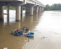 Xe chở gia cầm đâm sập lan can cầu, rơi xuống sông Dinh