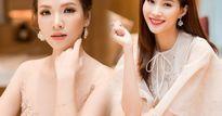 'Vợ Phan Hải' mặc váy nude đẹp át hai nàng hoa hậu Việt