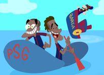 Hí họa Neymar bỏ Messi chơi vơi cùng con tàu đắm mang tên Barca