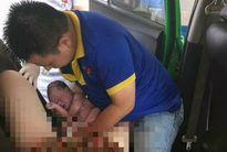 Sản phụ vỡ ối bất ngờ trên xe taxi, chồng vội vã hứng lấy con
