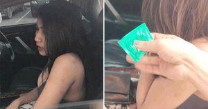 Vợ gặp bồ nhí ngồi trên xe của chồng với túi xách đầy bao cao su