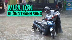 Mưa lớn, nhiều tuyến đường ở Thanh Hóa, Hải Phòng thành sông