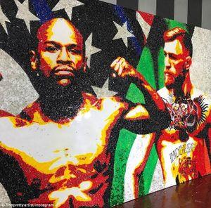 Mayweather khoe bức tranh khổng lồ về đại chiến với McGregor