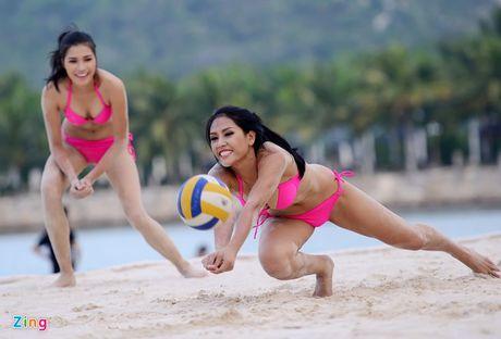 Thi sinh Hoa hau HVVN mac bikini choi bong chuyen - Anh 8