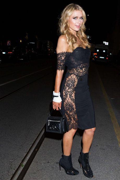 Paris Hilton dien vay xe cao khoet sau di xem thoi trang - Anh 7
