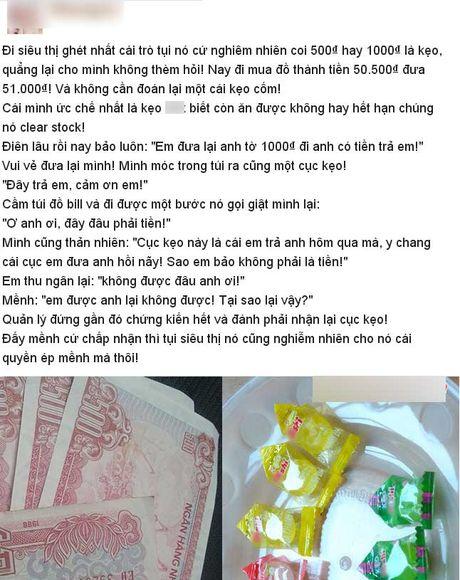 Chieu doi pho kho tin khi bi sieu thi tra tien le bang keo - Anh 1