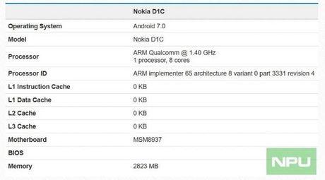 Smartphone cua Nokia lo cau hinh tren Geekbench - Anh 1