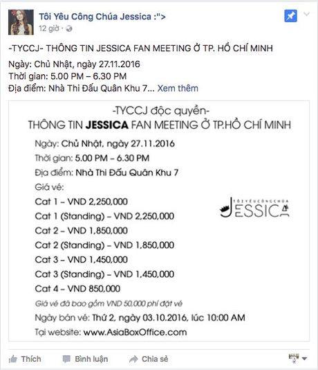 Ve du fan meeting Jessica tai Viet Nam thap nhat 800 ngan - Anh 1