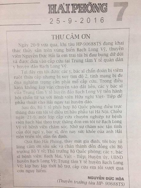 'Chung toi cam on Bo truong Bo Y te, Thu truong Bo Quoc phong va cac y bac si' - Anh 1