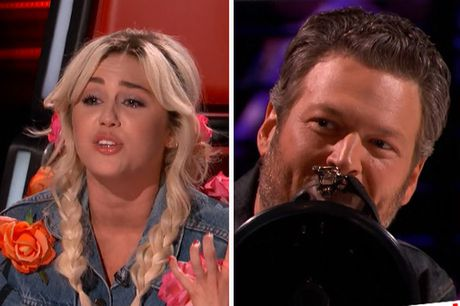 The Voice My: Miley Cyrus lam tac ke hoa, Blake Shelton bac loa tren ghe nong - Anh 1
