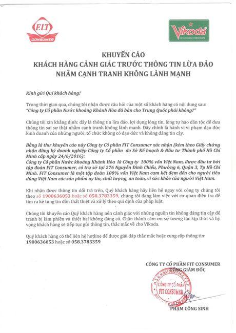 Bac bo thong tin Cty Nuoc khoang Khanh Hoa ban cho Trung Quoc - Anh 1