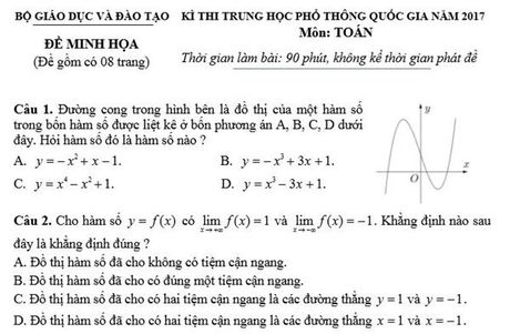 Bo GD-DT cong bo 14 de thi minh hoa thi THPT - Anh 1