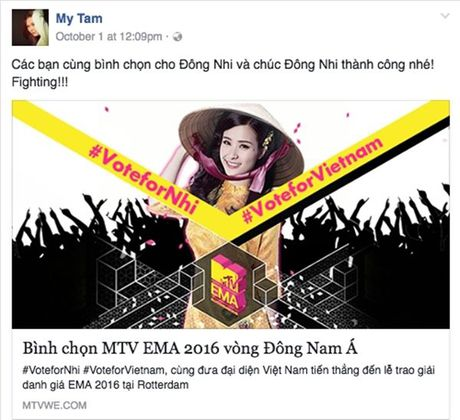 'Dan chi' My Tam, Ha Ho dong long keu goi binh chon cho Dong Nhi - Anh 2