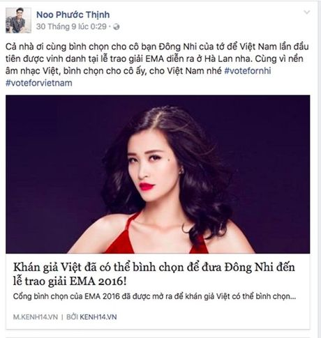 'Dan chi' My Tam, Ha Ho dong long keu goi binh chon cho Dong Nhi - Anh 7
