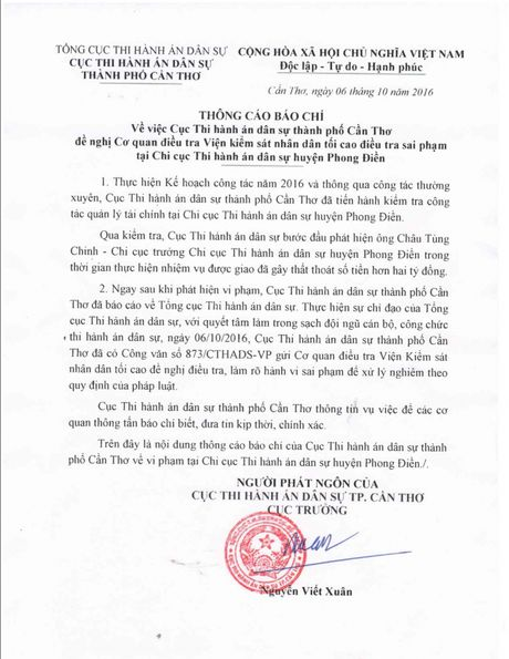 Can Tho: Chi cuc truong thi hanh an gay that thoat hon 2 ty - Anh 1