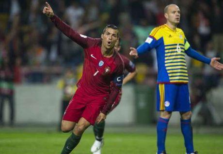 Cristiano Ronaldo lap poker vao luoi Andorra - Anh 1