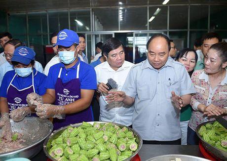 Chum anh: Thu tuong Nguyen Xuan Phuc di sieu thi, mua gio, kiem tra suat an cong nghiep - Anh 9