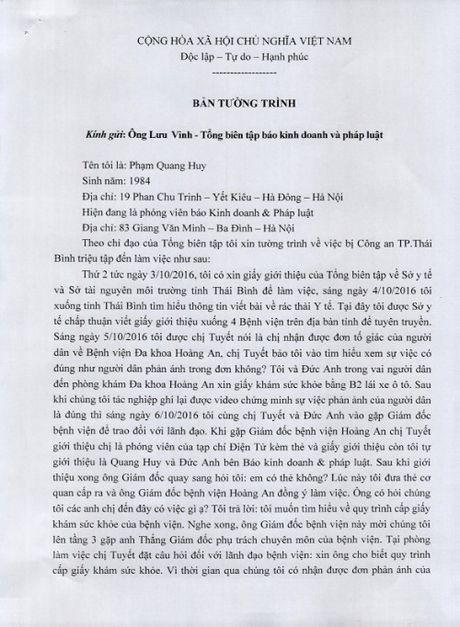 Xung quanh viec Cong an TP Thai Binh 'trieu tap' 3 phong vien - Anh 2