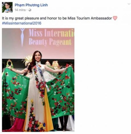 A khoi Phuong Linh gianh danh hieu Dai su Du lich tai Hoa hau Quoc te 2016 - Anh 1