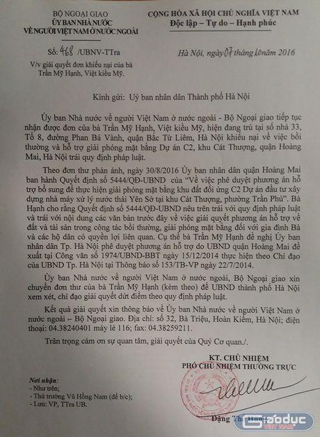 Bo Ngoai giao de nghi thanh pho Ha Noi giai quyet quyen loi mot Viet kieu My - Anh 3